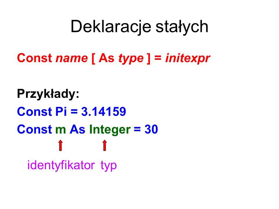 Deklaracje stałych Const name [ As type ] = initexpr Przykłady: